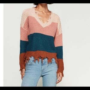 Love Tree Multicolor Sweater Oversized L NWT